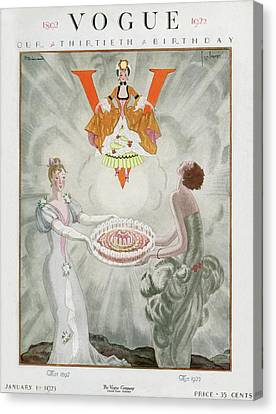 January Canvas Print - Vogue Magazine Cover Featuring Two Women Carrying by Georges Lepape & Pierre Brissaud
