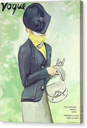 Purse Canvas Print - Vogue Magazine Cover Featuring Woman In A Dark by Carl Oscar August Erickson
