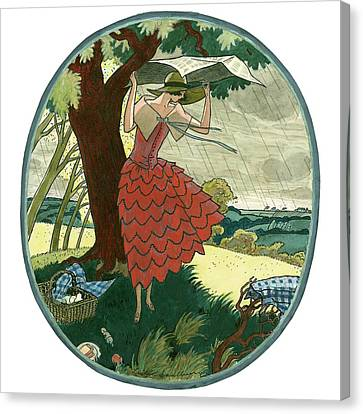 Vogue Magazine Illustration Of A Woman Protecting Canvas Print by Leslie Saalburg