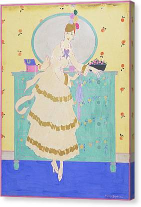 Clutch Bag Canvas Print - Vogue Magazine Illustration Of A Woman Wearing by Helen Dryden