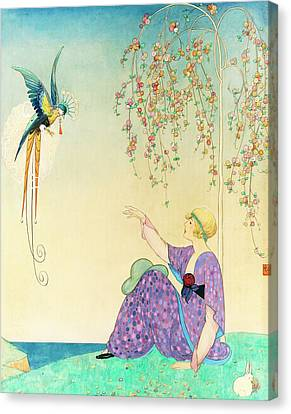 Colorful Sky Canvas Print - Vogue Magazine Illustration Of Woman Reaching by George Wolfe Plank