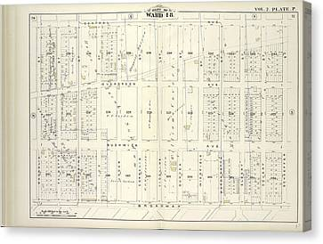 Vol. 2. Plate, P. Map Bound By Central Ave., Schaeffer St Canvas Print by Litz Collection