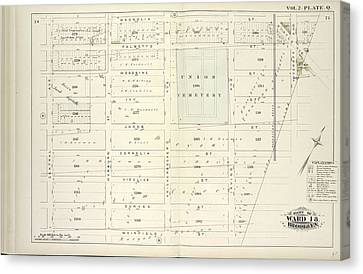 Vol. 2. Plate, Q. Map Bound By Magnolia St., City Line Canvas Print by Litz Collection