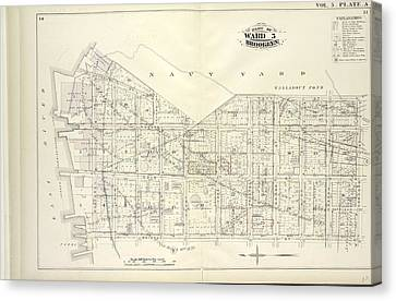 Vol. 5. Plate, A. Map Bound By U.s. Navy Yard, Concord St Canvas Print by Litz Collection
