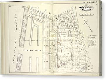 Vol. 5. Plate, N. Map Bound By Hamilton Ave., Carroll St Canvas Print by Litz Collection