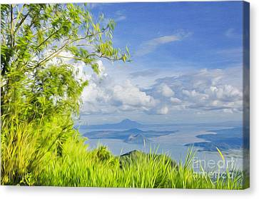 Volcano Within A Lake Canvas Print by George Paris