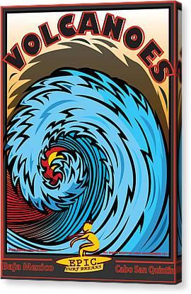 Volcanoes Baja Mexico Surfing Canvas Print