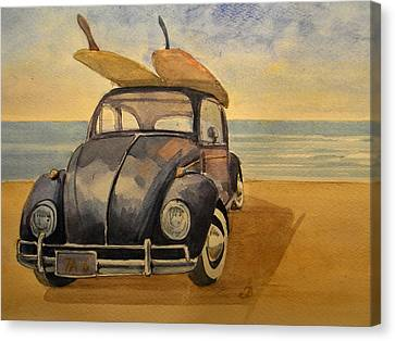 Surfing Art Canvas Print - Volkswagen Beetle by Juan  Bosco