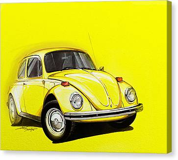 Beetle Canvas Print - Volkswagen Beetle Vw Yellow by Etienne Carignan