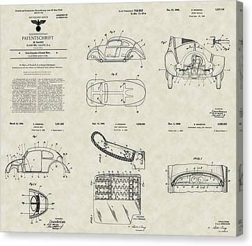 Volkswagen Patent Collection Canvas Print by PatentsAsArt