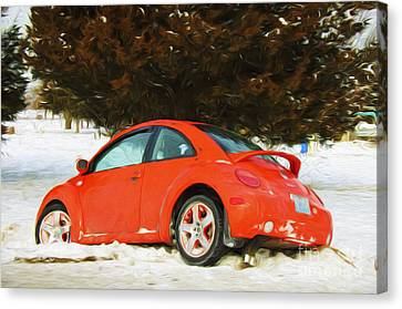 Volkswagen Snow Day Canvas Print by Andee Design