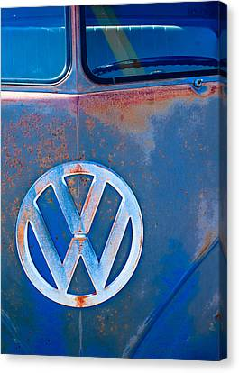 Volkswagen Vw Bus Emblem Canvas Print by Jill Reger
