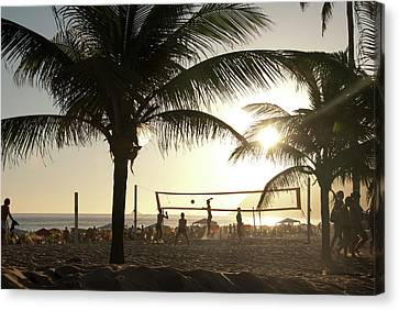 Volleyball, Ipanema Beach, Rio De Canvas Print by Kevin Berne