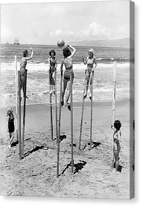 Volleyball On Stilts Canvas Print by Underwood Archives