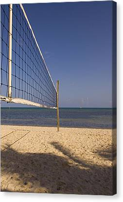 Vollyball Net On The Beach Canvas Print by Bob Pardue