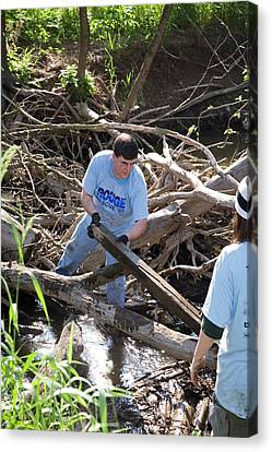 Eco-friendly Canvas Print - Volunteers Clearing Logs by Jim West