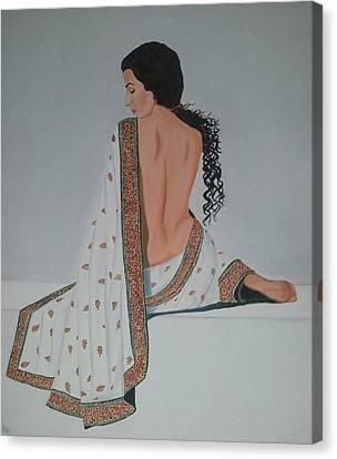 Sari Canvas Print - Voluptuous Vidya Balan In White Sari by Pallavi Talra