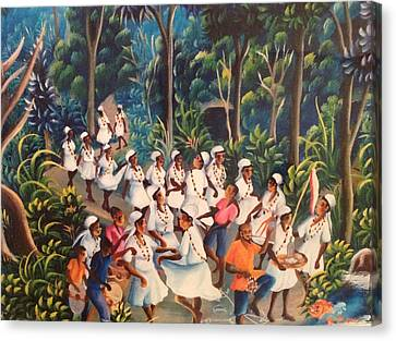 Voodoo Procession Canvas Print by Haitian artist