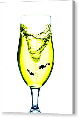 Vortex Diving In The Glass Cup Little People On Food Canvas Print by Paul Ge