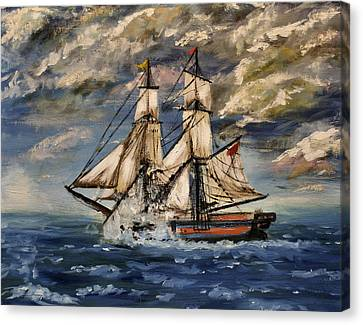 Warship Canvas Print - Voyage Of The Cloud Chaser by Isabella F Abbie Shores