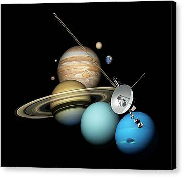 Voyager 2 And Planets Canvas Print by Carlos Clarivan