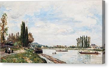 Vue De Meudon Du Pont De Sevres Canvas Print by Johan-Barthold Jongkind