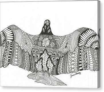 Vulture Wild Ink Canvas Print by Jamie Ramirez