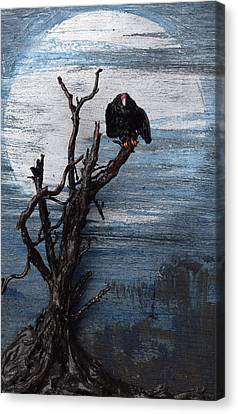 Vulture With Blue Moon Canvas Print by Roger Swezey