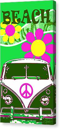 Vw Beach  Green Canvas Print