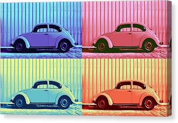 Beetle Canvas Print - Vw Beetle Pop Art Quad by Laura Fasulo