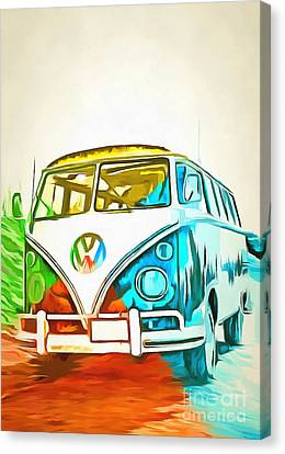 Vw Bus Pop Art 5 Canvas Print by Edward Fielding