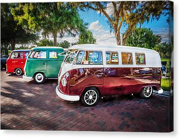 Vw Bus Stop 1964 1961 1968 Vans Trucks Painted Canvas Print by Rich Franco