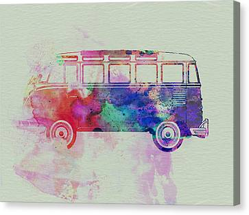Vw Bus Watercolor Canvas Print by Naxart Studio