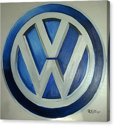 Canvas Print featuring the painting Vw Logo Blue by Richard Le Page