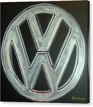 Canvas Print featuring the painting Vw Logo Chrome by Richard Le Page