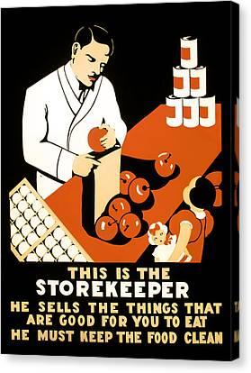 W P A  Food Hygiene Poster C. 1937 Canvas Print by Daniel Hagerman