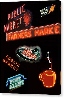 Wa, Seattle, Pike Place Market Signs Canvas Print by Jamie and Judy Wild