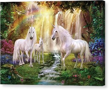 Waaterfall Glade Unicorns Canvas Print