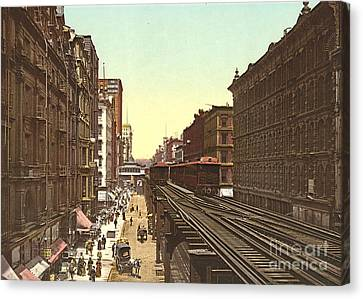 Wabash Avenue Chicago 1900 Canvas Print by Padre Art
