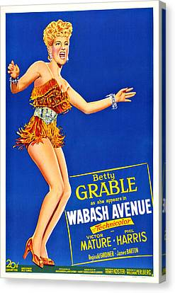 1950 Movies Canvas Print - Wabash Avenue, Us Poster Art, Betty by Everett