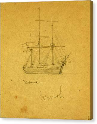 Wabash, Between 1860 And 1865, Drawing On Cream Paper Pencil Canvas Print by Quint Lox