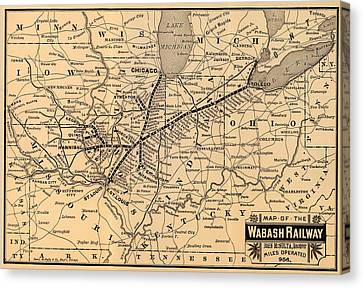 Wabash Railway Map 1887 Canvas Print by Mountain Dreams