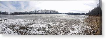 Canvas Print featuring the photograph Wabash River Ice Jam Panorama by Tony Mathews