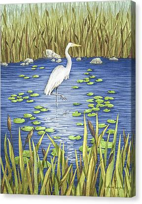 Wading And Watching Canvas Print by Katherine Young-Beck