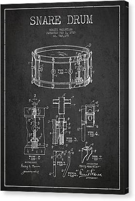 Waechtler Snare Drum Patent Drawing From 1910 - Dark Canvas Print by Aged Pixel