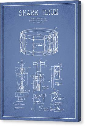 Waechtler Snare Drum Patent Drawing From 1910 - Light Blue Canvas Print by Aged Pixel