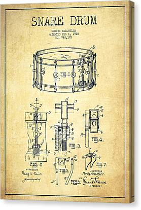 Drummer Canvas Print - Waechtler Snare Drum Patent Drawing From 1910 - Vintage by Aged Pixel