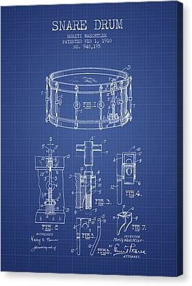 Waechtler Snare Drum Patent From 1910 - Blueprint Canvas Print by Aged Pixel