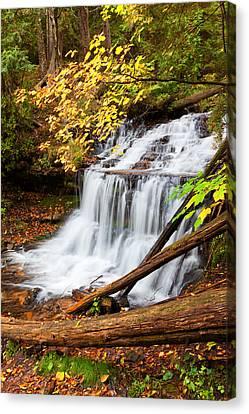 Wagner Falls In Autumn Canvas Print by Craig Sterken