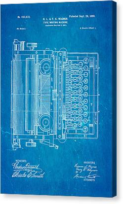Wagner Type Writing Machine Patent Art 1899 Blueprint Canvas Print by Ian Monk